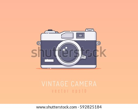 Camera Vintage Vector Free : Vintage film photography camera vector illustration stock vector