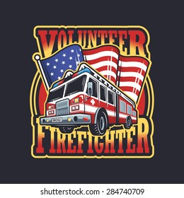 Vintage firefighter emblem with firefighter truck and american flag on dark background