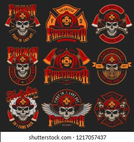 Vintage firefighting colorful emblems set with skulls wearing fireman helmet gas mask eagle wings axes on dark background isolated vector illustration
