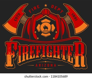 Vintage fireman logo colorful template with crossed axes and skull in firefighter helmet on black background isolated vector illustration