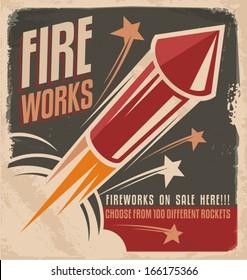 Vintage fireworks poster design. Retro flyer design for fire works rockets retailer.