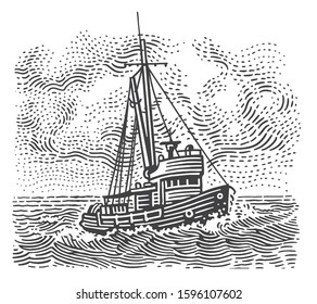 Vintage fishing boat engraving style illustration for label/prints etc. Vector, isolated, sky in separate layer.