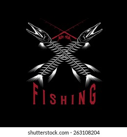 vintage fishing emblem with skeleton of pike