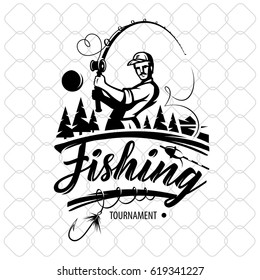 Vintage fishing logos, emblems, labels badge set. Vector illustration