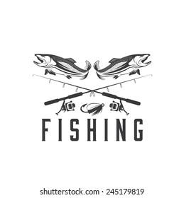 vintage fishing vector design template stock vector royalty free