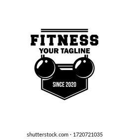 Vintage Fitness body building logo design template