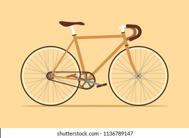 Vintage fixed gear bicycle, Fixie bike, Simple flat design isolated on beige cream color background, Vector illustration