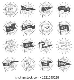 Vintage flag banner. Hand drawn retro flags welcome, lets go and get started scroll banners with starburst rays. Sun ray patriotic strike text flag isolated vector symbols set