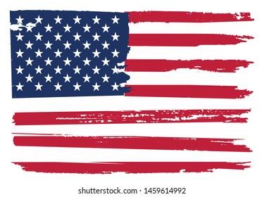 Vintage flag of USA. Grunge American flag.