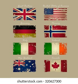 Vintage Flags Vector Set