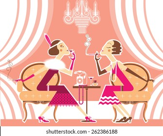 Vintage Flapper girls with cigarette talking in room.Vector illustration of retro party