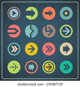 Vintage flat arrows set for mobile apps and web