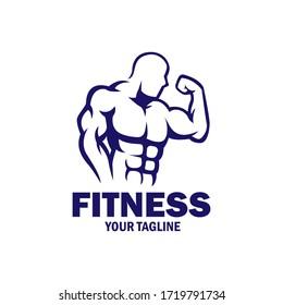 Vintage Flat design fitness bodybuilding logo vector template