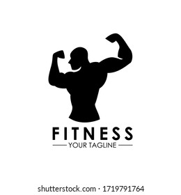 Vintage Flat design fitness bodybuilding logo vector template
