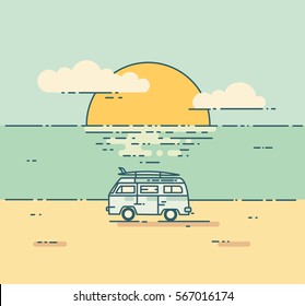 Vintage flat line illustration with surf van on the beach. Minivan with sunset landscape. Adventure and Travel concept