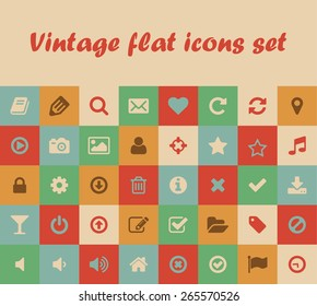 Vintage flat vector colored icons and buttons for mobile and web