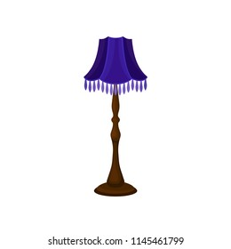 Vintage floor lamp with tall wooden stand and blue lampshade. Interior object. Antique home furniture. Flat vector icon