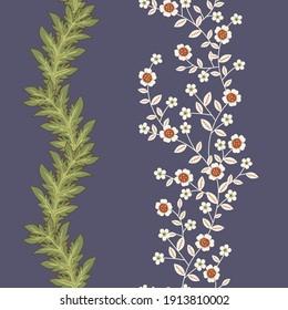 Vintage Flora Acanthus Leaves Vector Seamless Vertical Borders Set