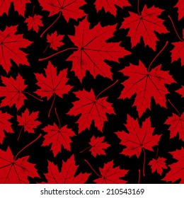 vintage floral autumn (fall) seamless pattern with maple leaves