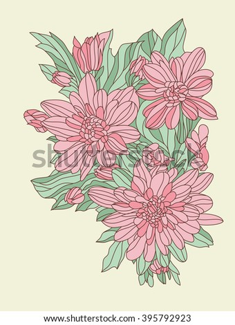 Vintage Floral Background For Greeting Card Happy Birthday Invitation Vector Illustration