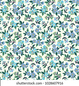 Vintage floral background. Seamless vector pattern for design and fashion prints. Flowers pattern with small blue flowers on a white background. Ditsy style.
