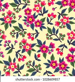 Vintage floral background. Seamless vector pattern for design and fashion prints. Flowers pattern with small pink flowers on a white background. Ditsy style.