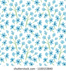 Vintage floral background. Seamless vector pattern for design and fashion prints. Flowers pattern with small light blue flowers on a white background. Ditsy style.
