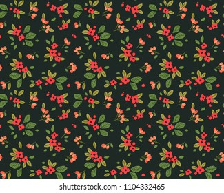 Vintage floral background. Seamless vector pattern for design and fashion prints. Flowers pattern with small red flowers on a dark green background. Ditsy style.