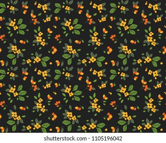 Vintage floral background. Seamless vector pattern for design and fashion prints. Flowers pattern with small yellow flowers on a dark background. Ditsy style.