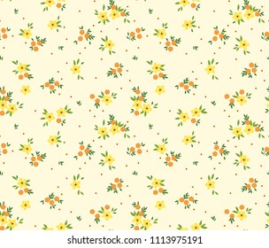 Vintage floral background. Seamless vector pattern for design and fashion prints. Flowers pattern with small yellow flowers on a white background. Ditsy style.