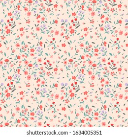 Vintage floral background. Seamless vector pattern for design and fashion prints. Flowers pattern with small pink and red flowers on a light ivory background. Ditsy style.