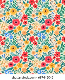Vintage floral background. Seamless vector pattern for design and fashion prints. Flowers pattern with small colorful flowers on a light background. Ditsy style.