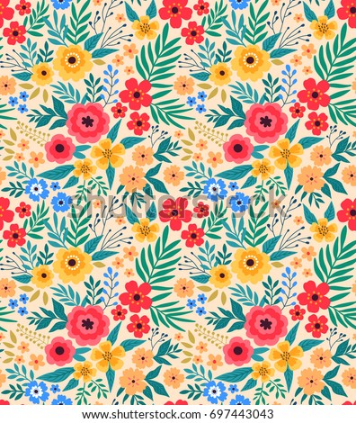 Vintage Floral Background Seamless Vector Pattern Stock Vector