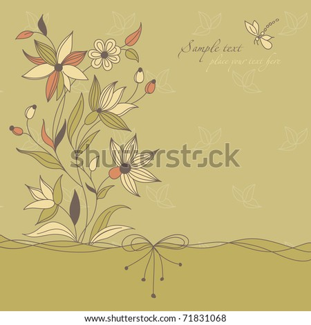 Vintage Floral Background Themes Wedding Love Stock Vector Royalty