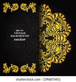 Vintage floral background, victorian black gold ornament pattern, menu for your bisness vector