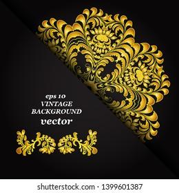 Vintage floral background, victorian black gold mandala ornament pattern, menu for your bisness vector