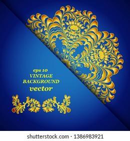 Vintage floral background, victorian blue gold ornament pattern, menu for your bisness vector