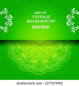 Vintage floral background, victorian green white ornament pattern, menu for your bisness vector
