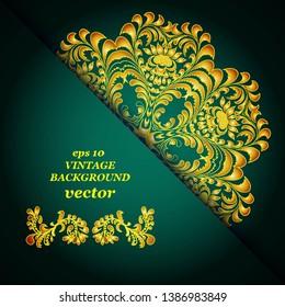 Vintage floral background, victorian green gold ornament pattern, menu for your bisness vector