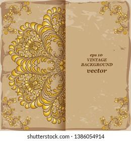Vintage floral background, victorian old paper gold ornament pattern, menu for your bisness vector