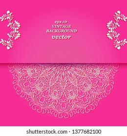 Vintage floral background, victorian pink white ornament pattern, menu for your bisness vector