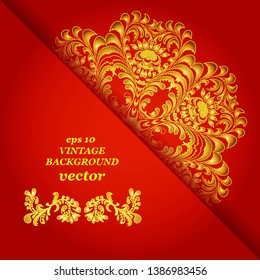 Vintage floral background, victorian red gold ornament pattern, menu for your bisness vector