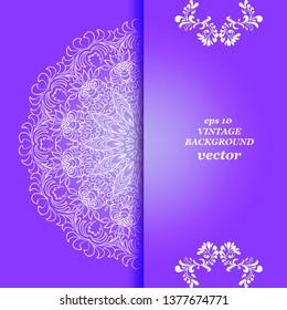 Vintage floral background, victorian violet  white ornament pattern, menu for your bisness vector