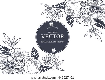Vintage floral background for wedding invitation card or label. Vector botanical hand drawn illustration with beautiful flowers