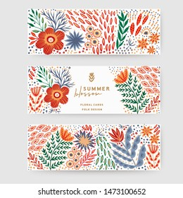 Vintage floral banners made of flowers in folk traditional style. Can be used as greeting cards template, header for website