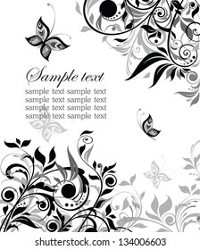 Vintage floral black and white background