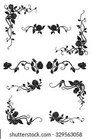 Vintage floral borders with blooming rose vines, adorned by lush flowers and dainty buds. Retro style dividers and corners