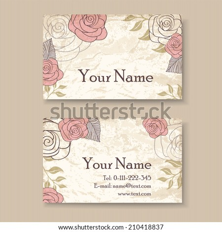 Vintage floral business card template roses stock vector royalty vintage floral business card template with roses wajeb Images