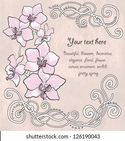 Vintage floral card with orchid