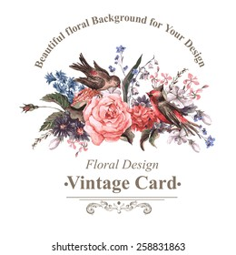 Vintage Floral Card with Roses, Wildflowers and Birds, vector watercolor illustration